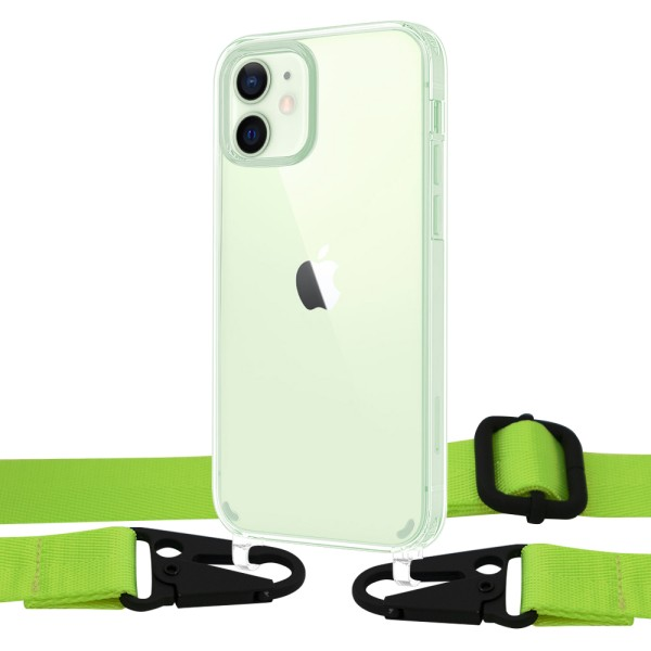 Чехол Upex Crossbody Protection Case для iPhone 12 | 12 Pro Crystal with Harness Toxic Green (UP81464)