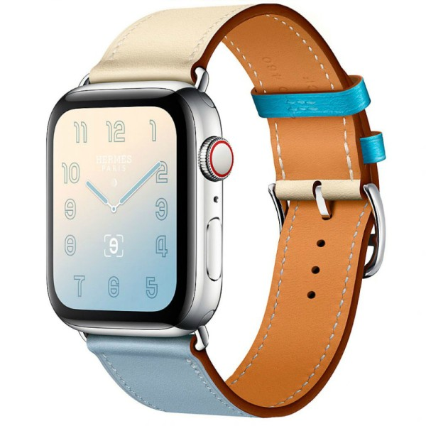 Ремешок Hermes Single Tour для Apple Watch 44/42 мм Bleu Lin/Craie/Bleu du Nord Swift Leather