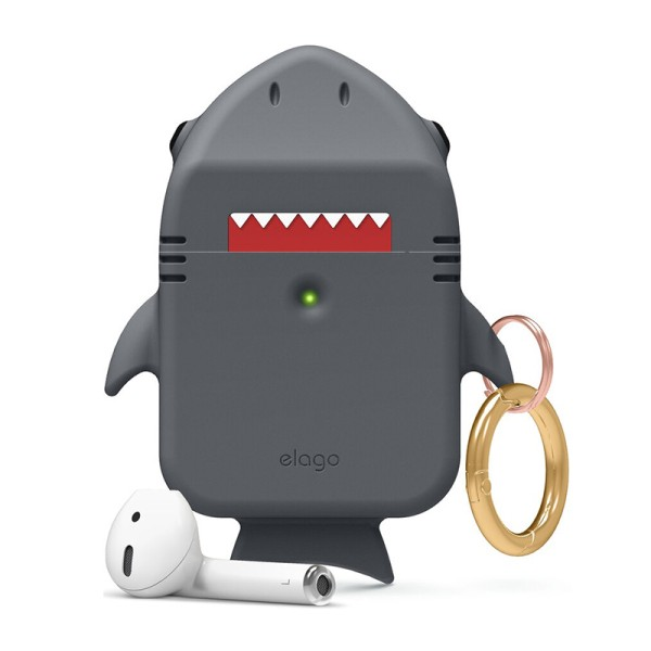 Чехол для Airpods 2/1 Elago Shark Case Dark Grey for Charging/Wireless Case (EAP-SHARK-DGY)
